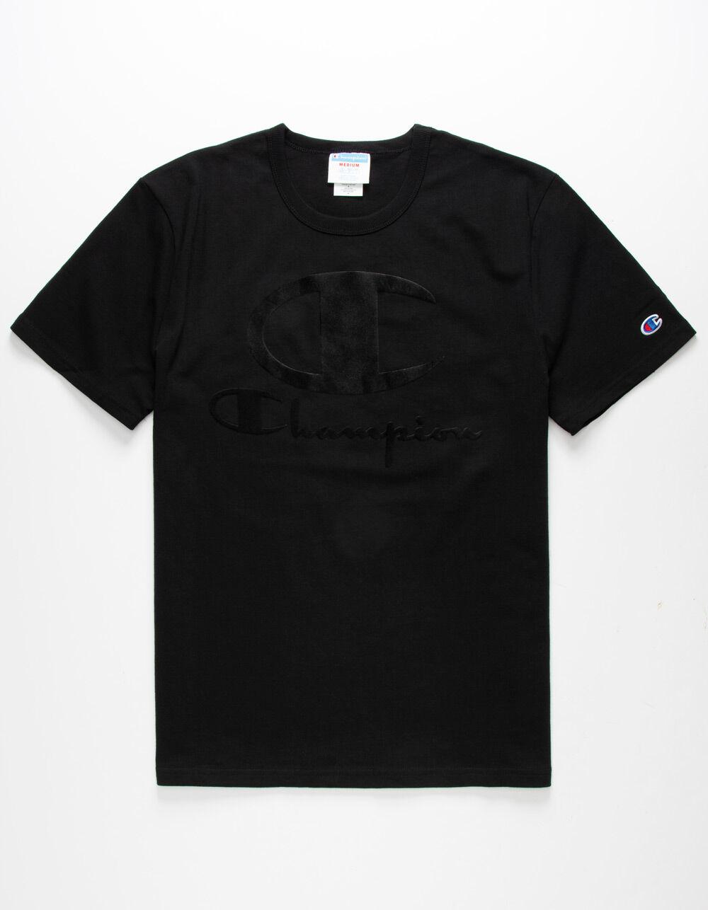 CHAMPION Furry Champion Logo Black T-Shirt
