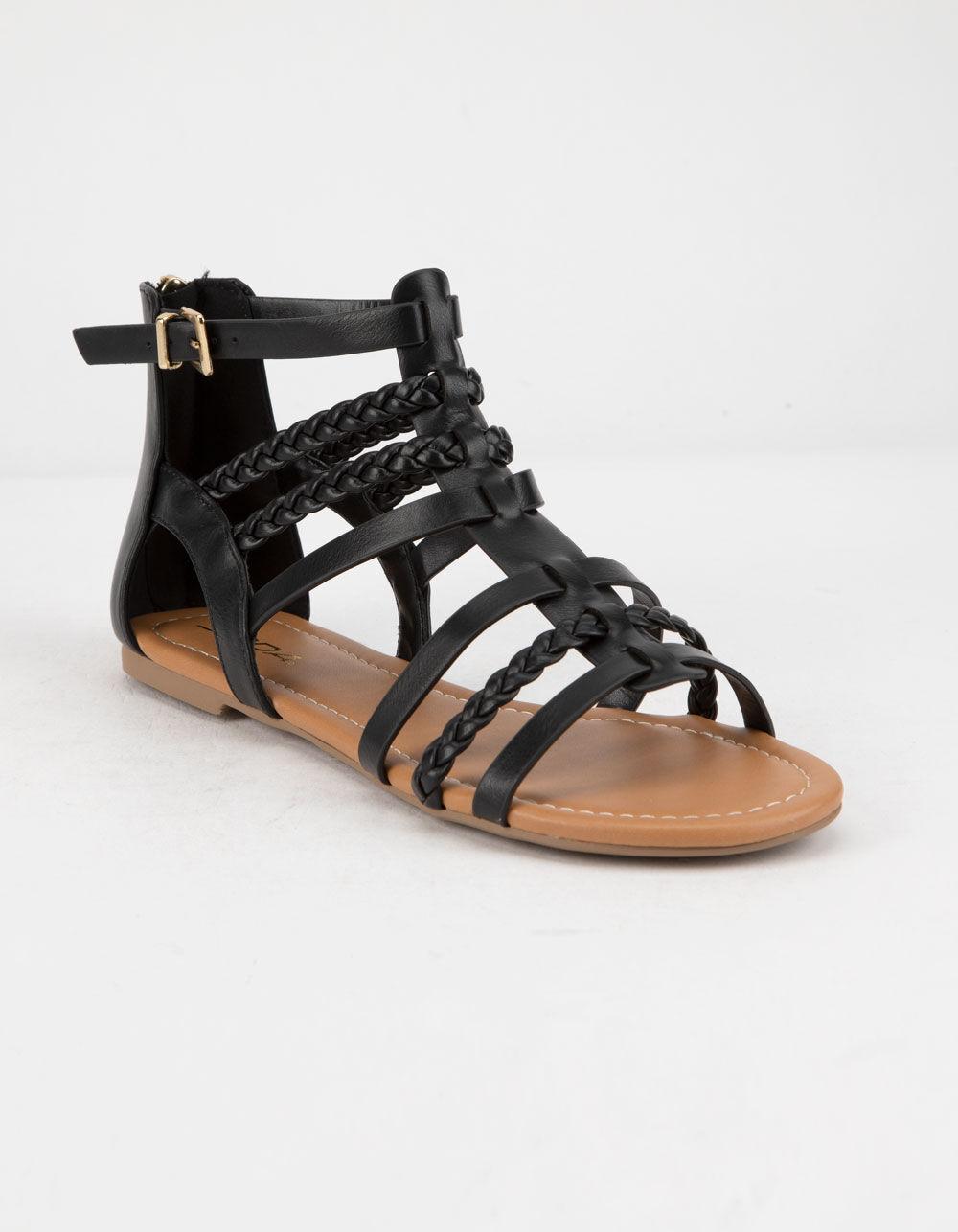 SODA Braid Back Zip Black Gladiator Sandals