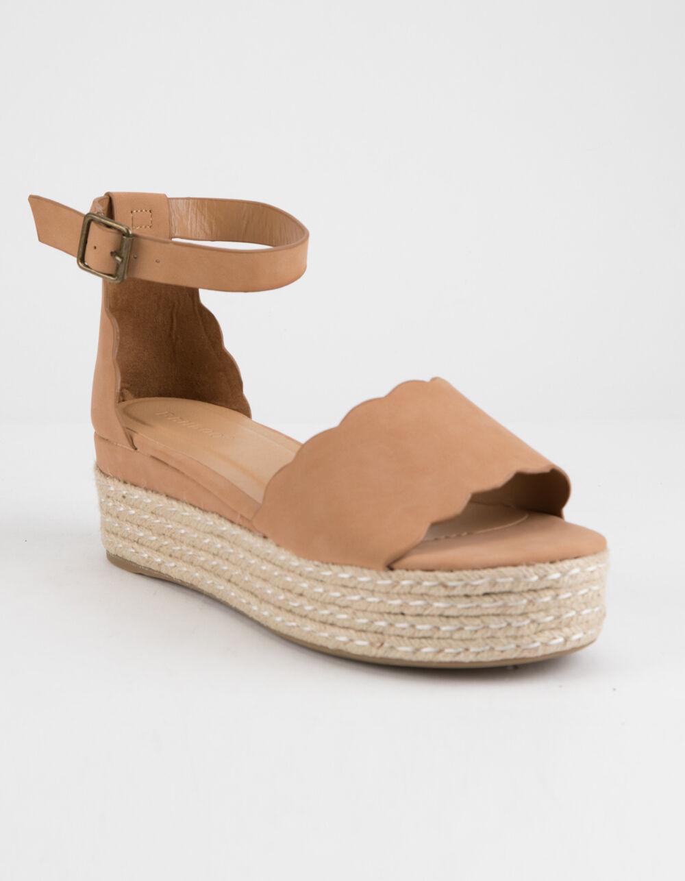 BAMBOO Scallop Espadrille Tan Platform Sandals