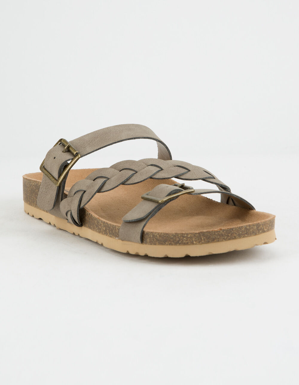 SODA Braided Strap Buckle Taupe Sandals