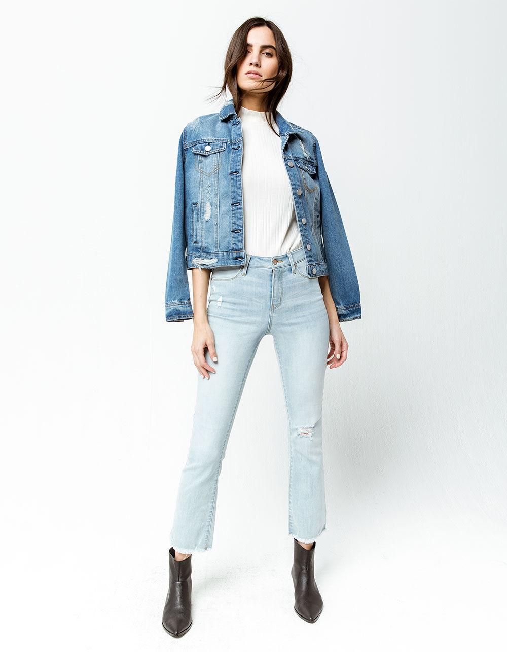 RSQ Sydney Crop Light Blast Ripped Flare Jeans