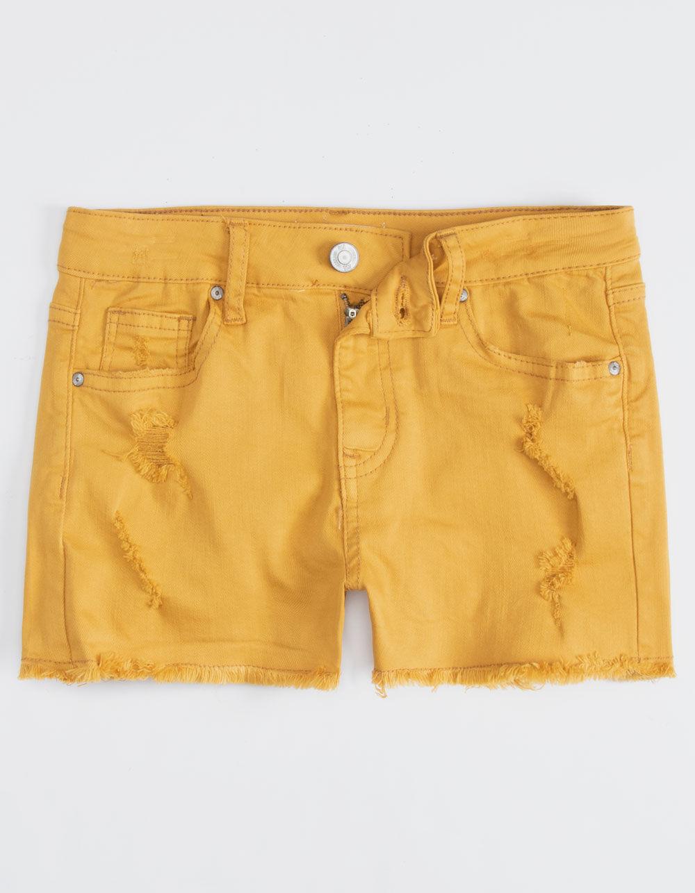 RSQ Venice Mid Rise Mustard Girls Ripped Denim Shorts