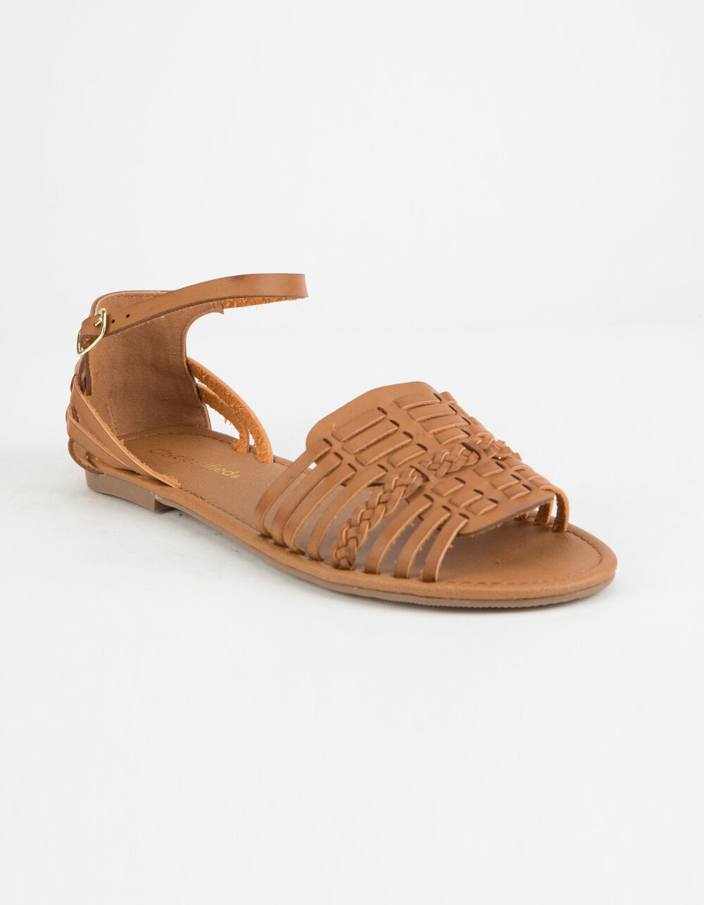 CITY CLASSIFIED Woven Basket Weave Tan Sandals