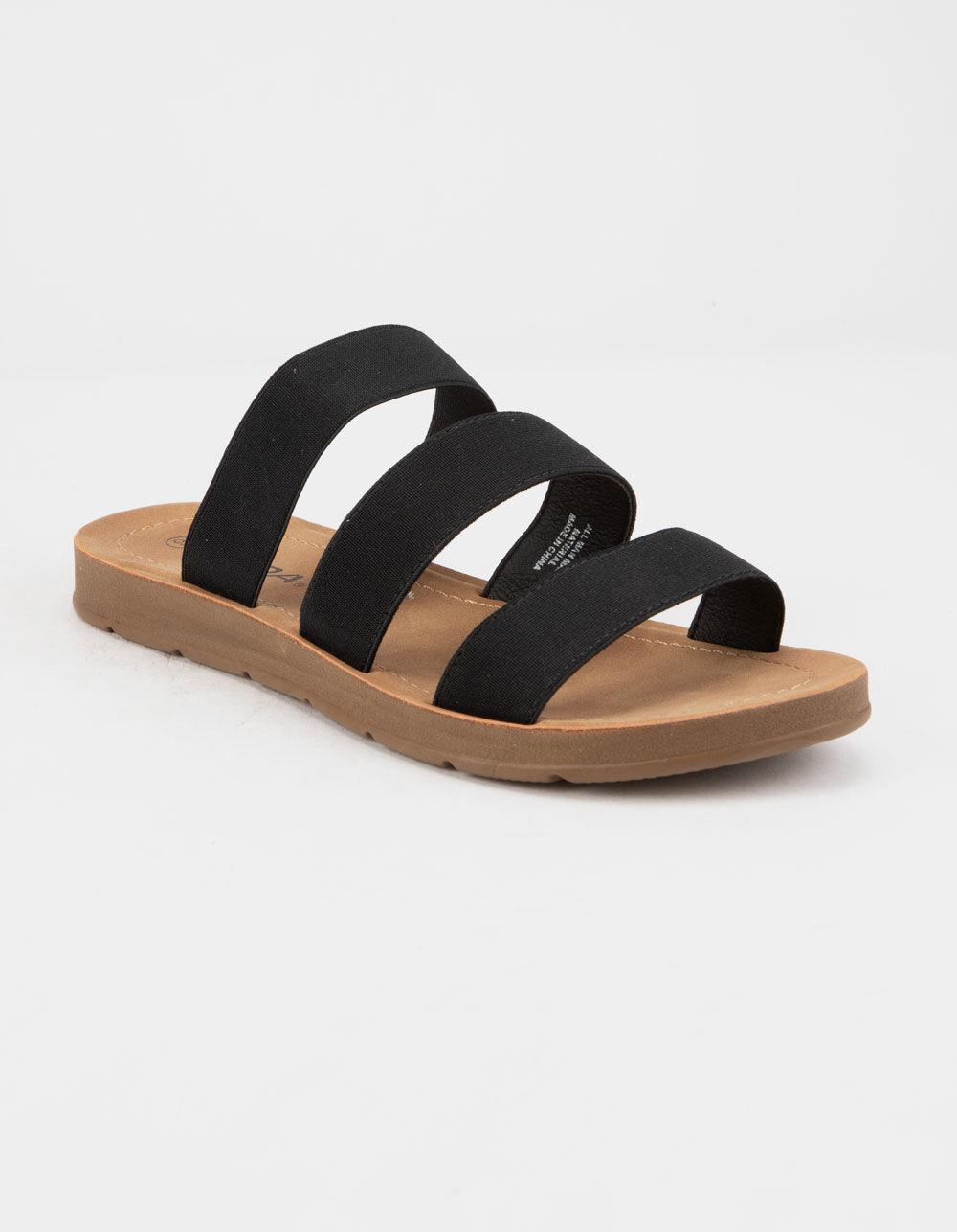 SODA Elastic 3 Strap Black Sandals