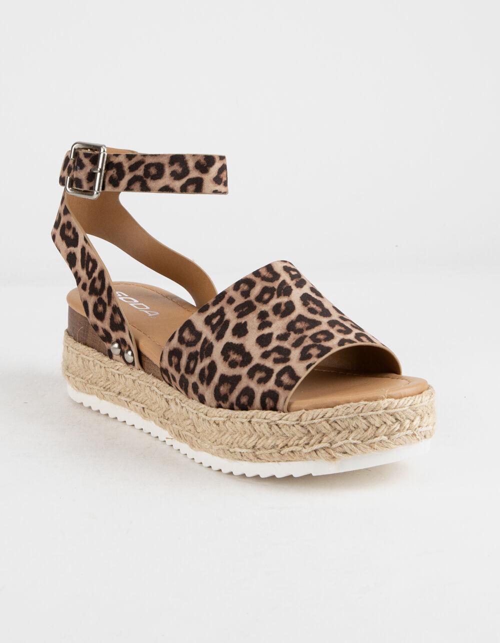 SODA Topic Cheetah Espadrille Flatform Sandals