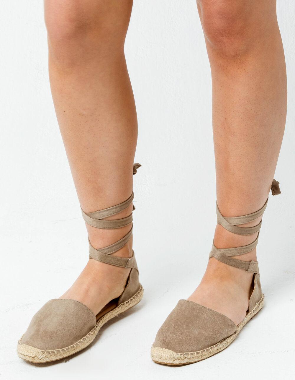 SODA Lace Up Taupe Espadrille Flatform Sandals