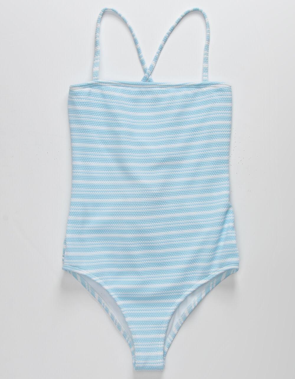 FULL TILT Textured Stripe Girls One Piece Swimsuit