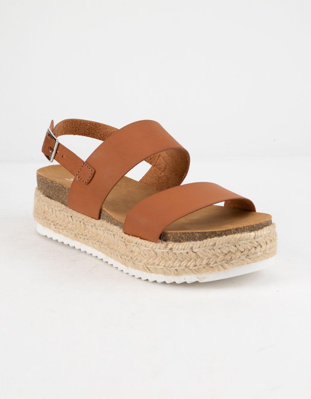 SODA 2 Strap Tan Espadrille Flatform Sandals