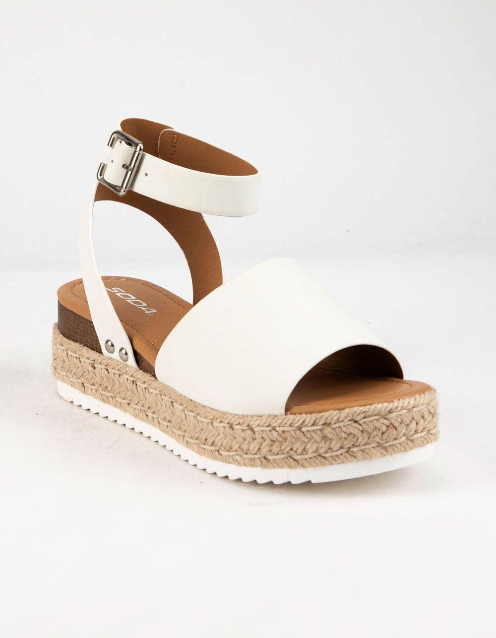 SODA Topic White Espadrille Flatform Sandals
