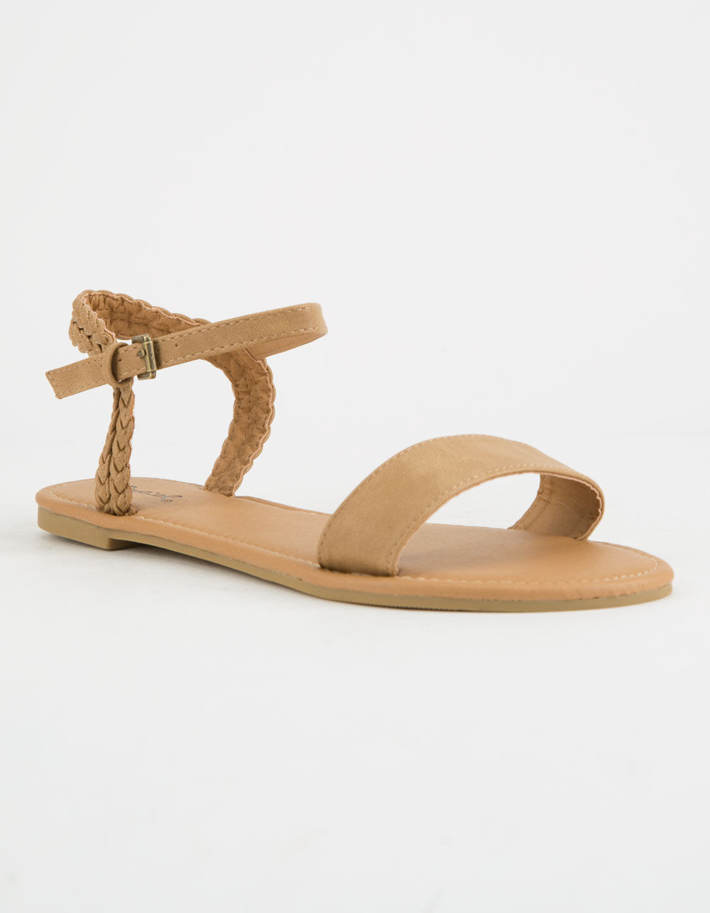 QUPID BRAIDED TAN SANDALS