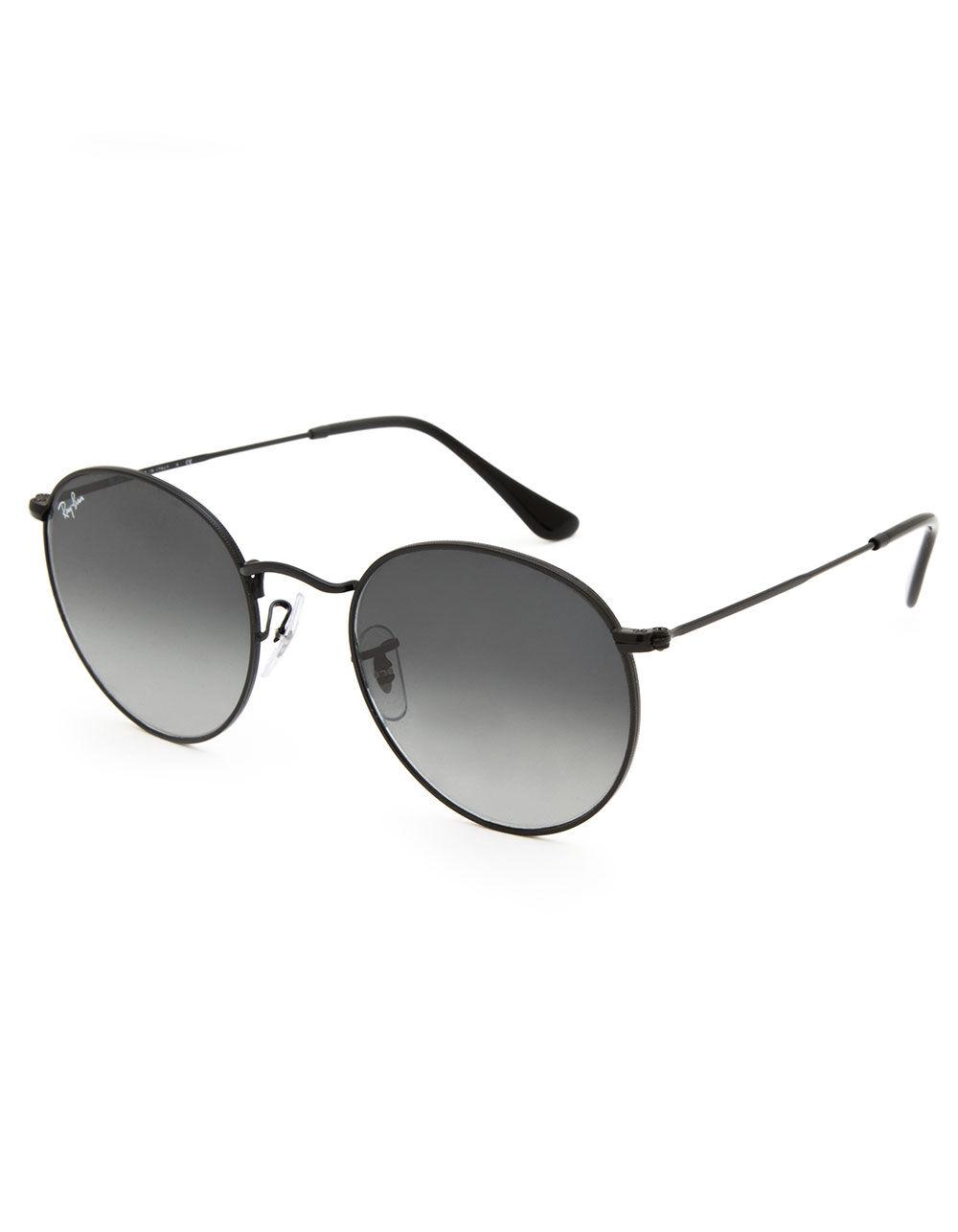 RAY-BAN Round Flat Lenses Grey Gradient & Black Sunglasses