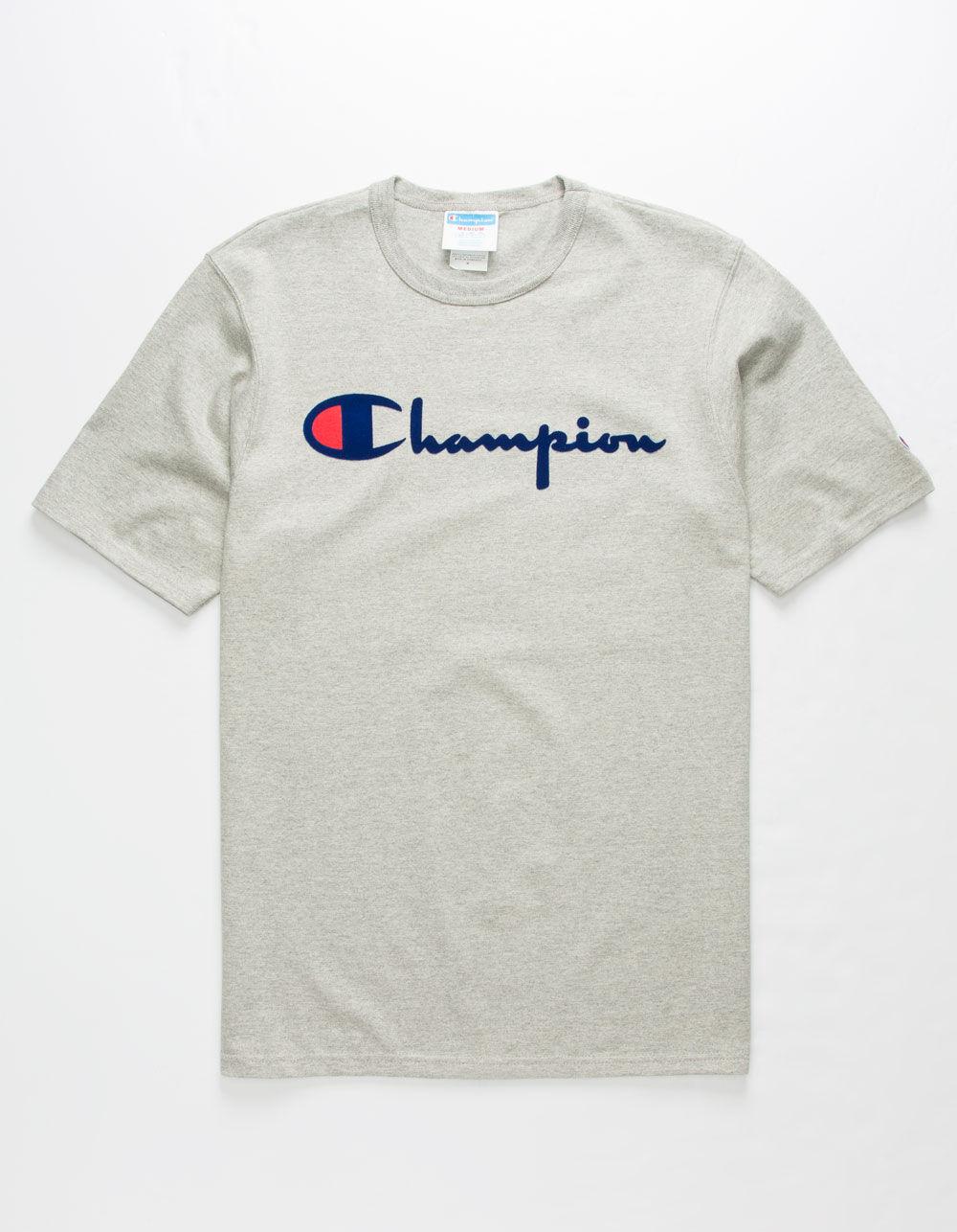 CHAMPION Script Flock Heather T-Shirt