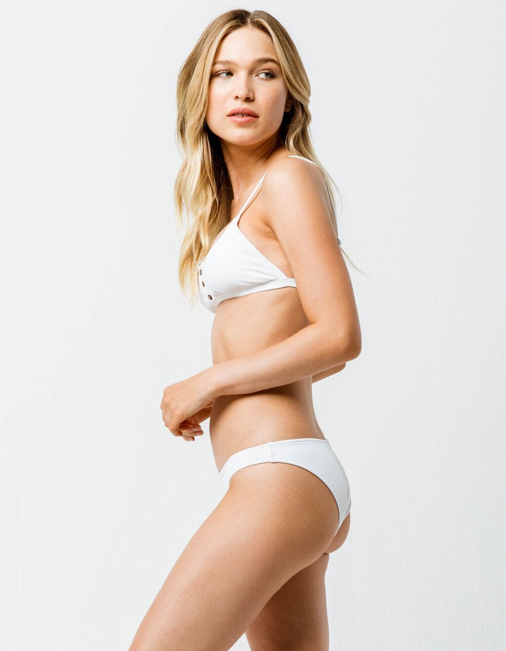 DAMSEL Rib Hipster White Bikini Bottoms
