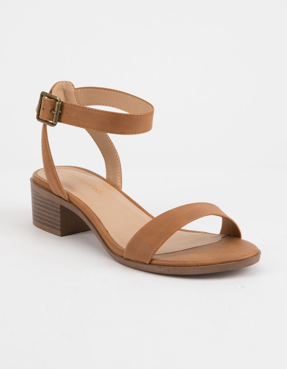 CITY CLASSIFIED Ankle Strap Cognac Heeled Sandals