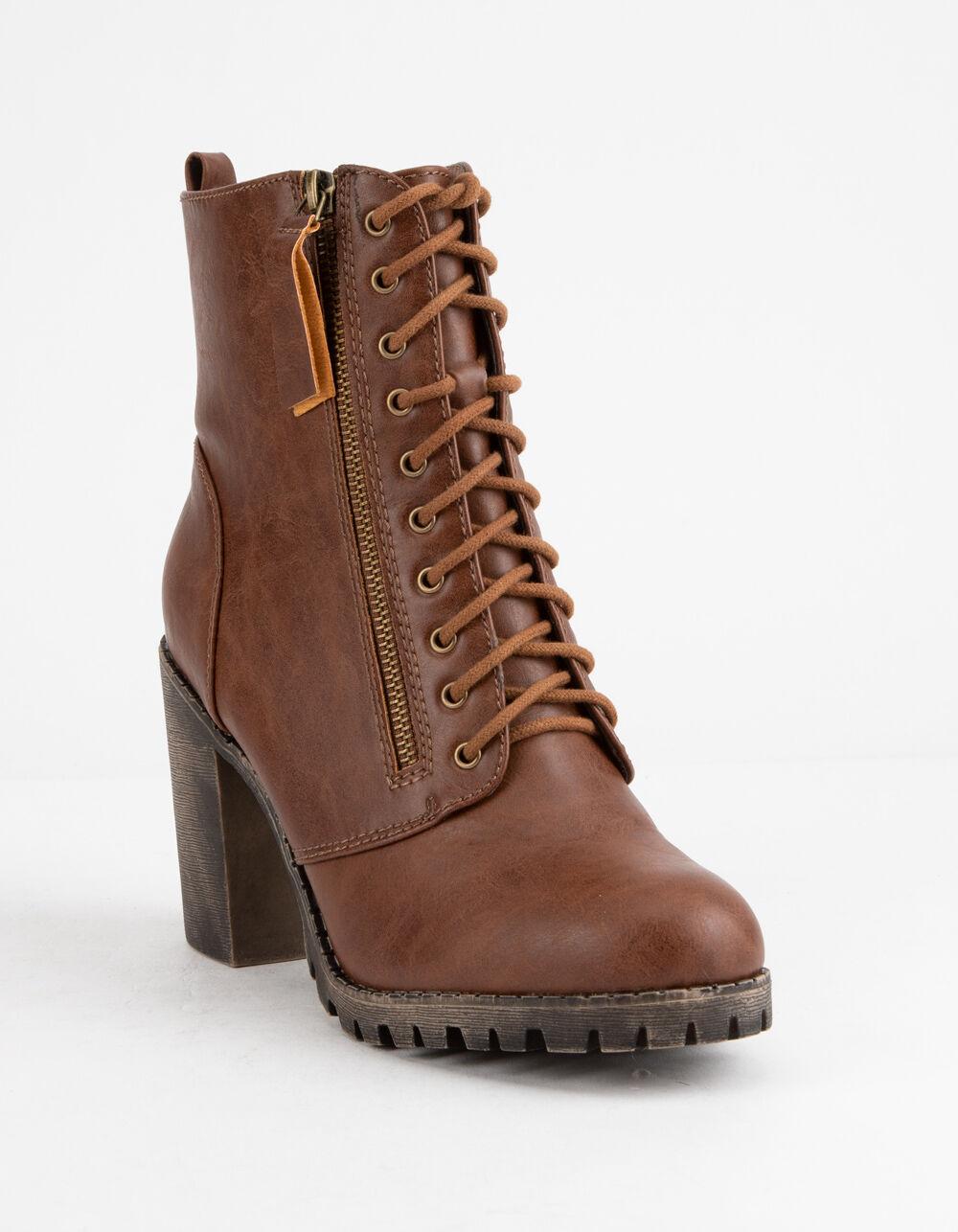 SODA Malia Tan Heeled Combat Boots