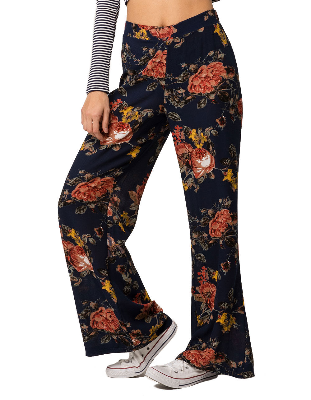 SKY AND SPARROW FLORAL WIDE LEG PANTS