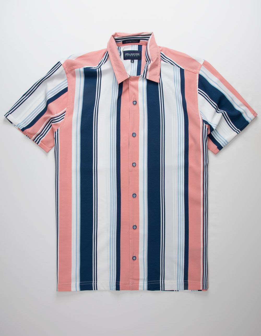 Image of DRILL CLOTHING VERTICAL STRIPE NAVY & WHITE SHIRT