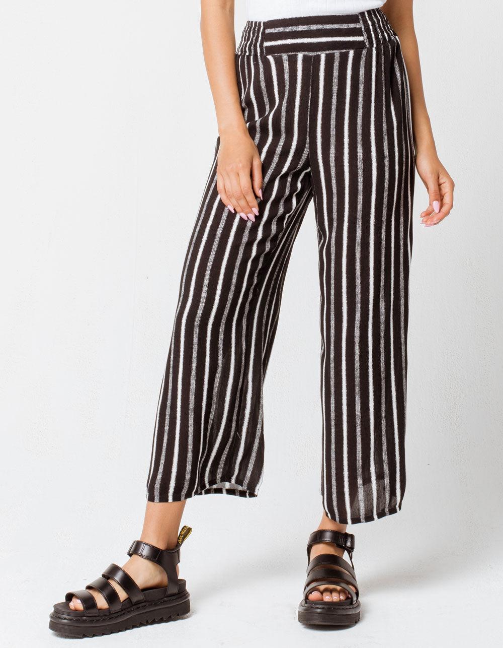 FULL TILT Stripe Crop Black & White Wide Leg Pants