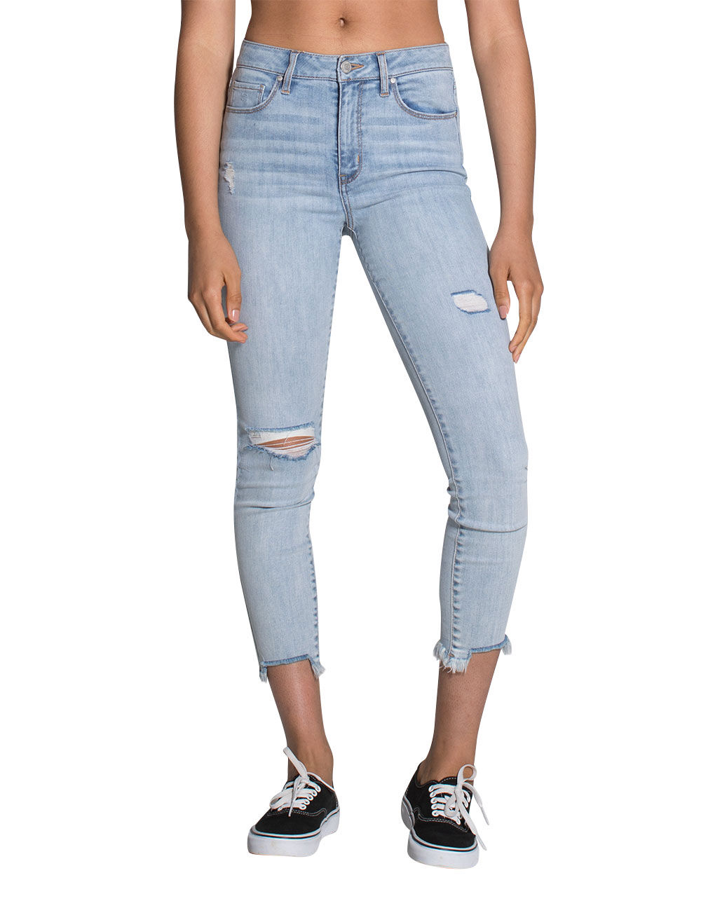 RSQ CALI HIGH RISE FRAY ANKLE RIPPED SKINNY JEANS