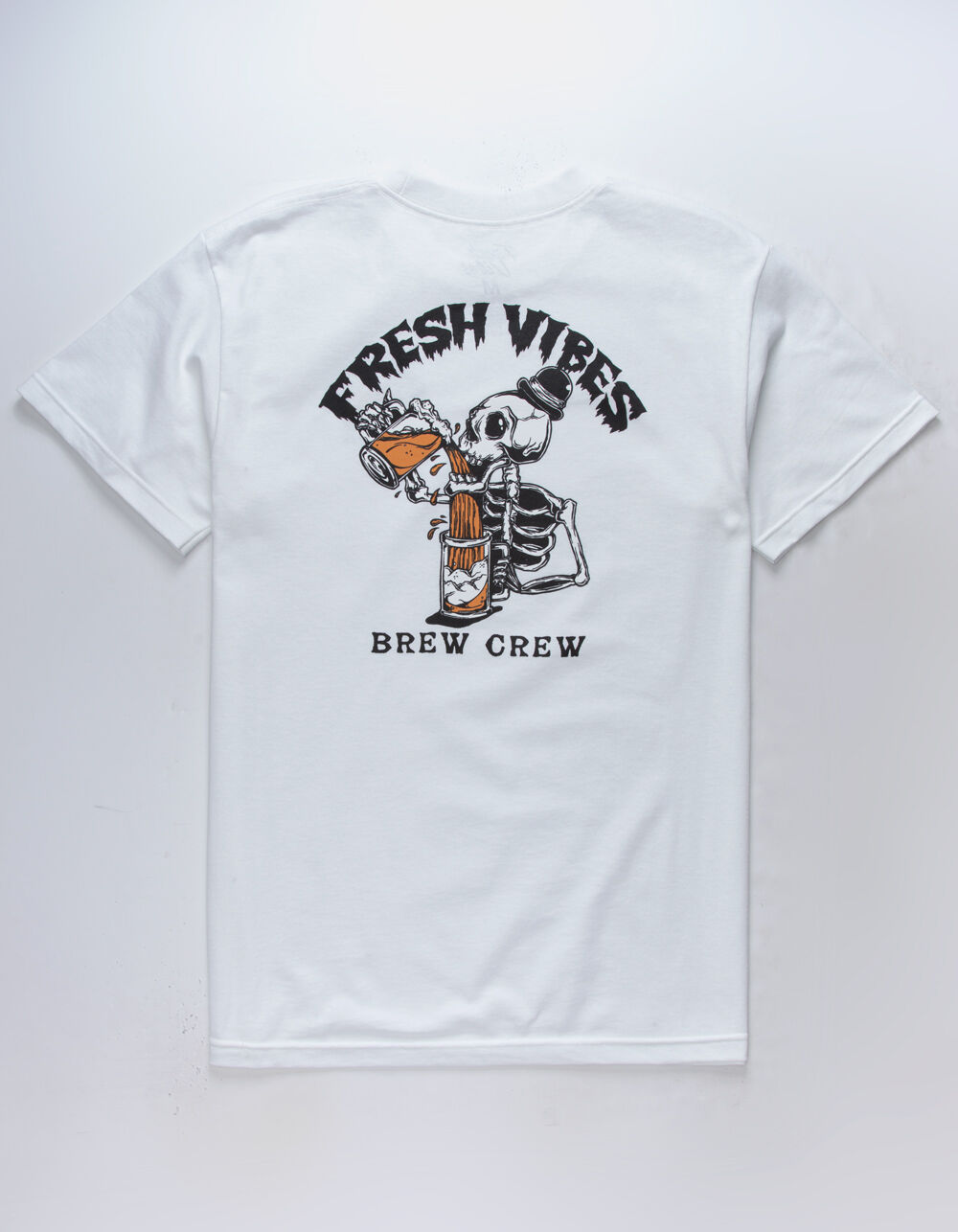 FRESH VIBES Brew Crew White T-Shirt