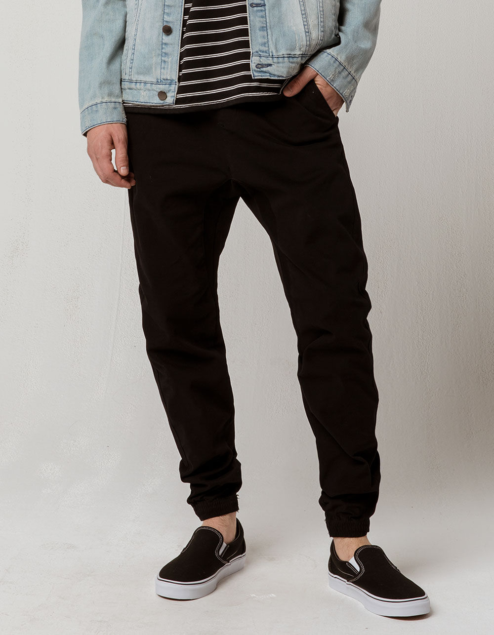 CHARLES AND A HALF Black Twill Jogger Pants