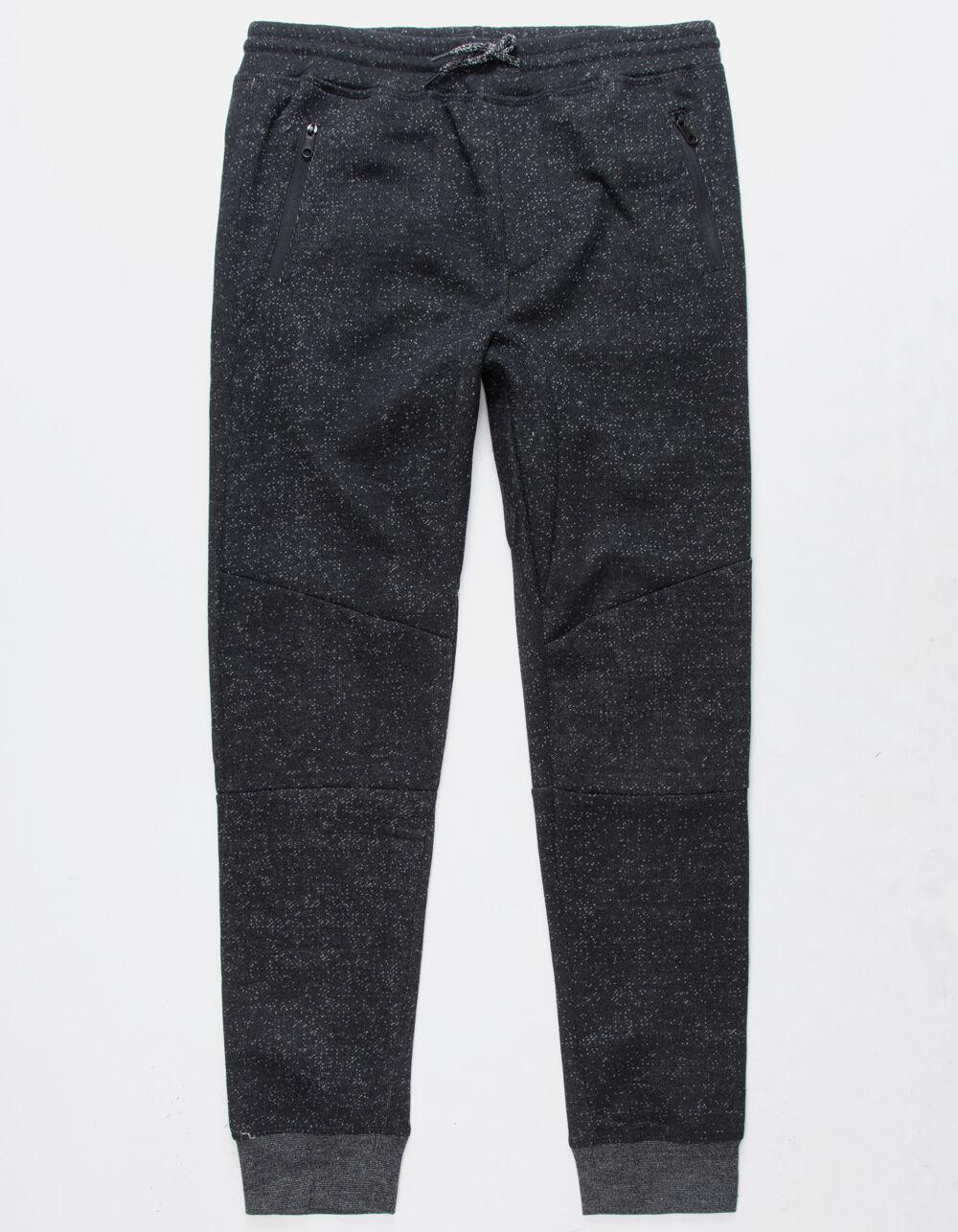 Image of BROOKLYN CLOTH MARLED ZIP BLACK BOYS JOGGER PANTS