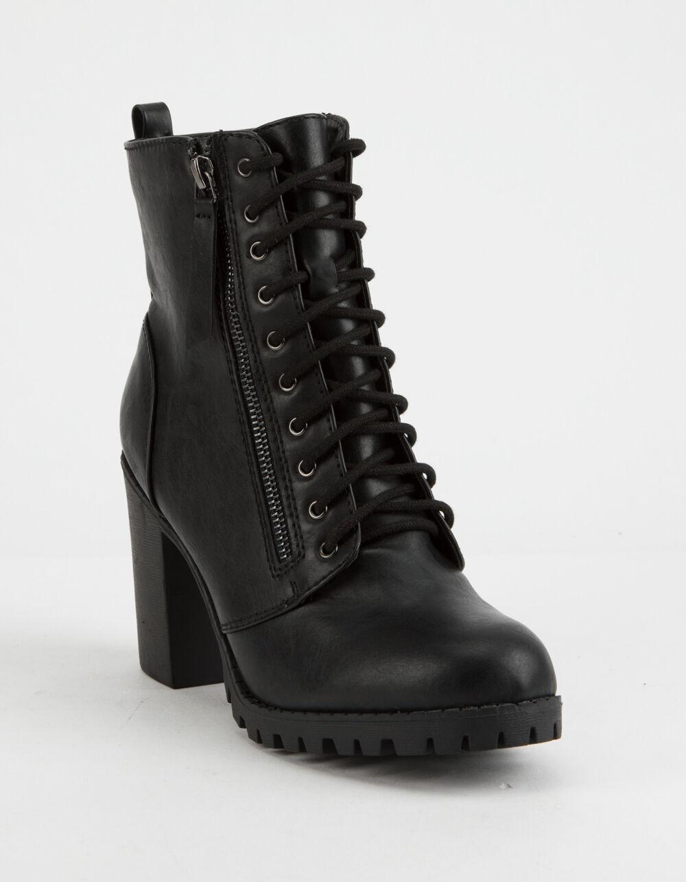 SODA Malia Black Heeled Combat Boots