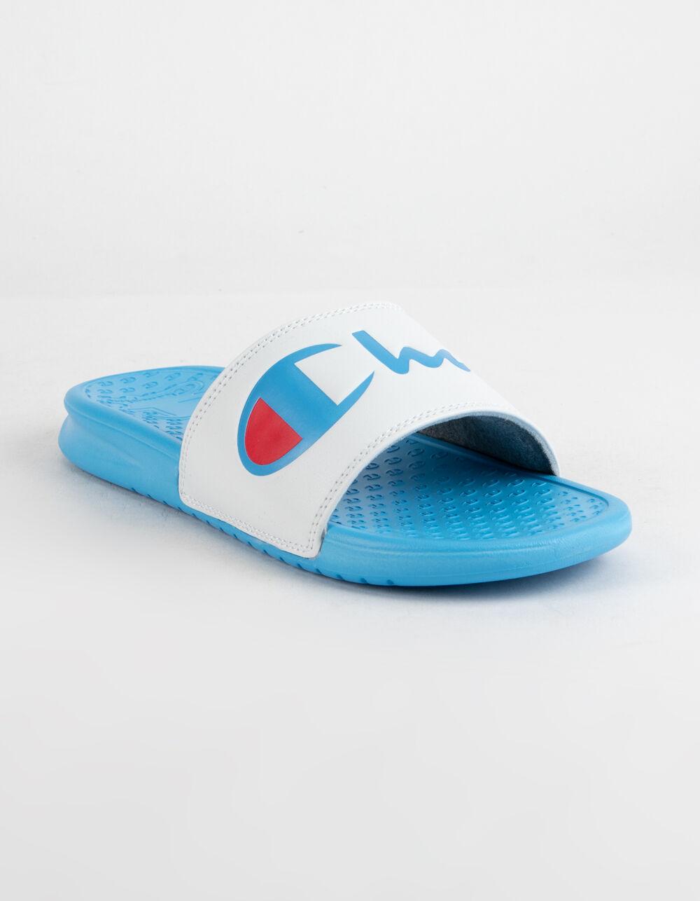 CHAMPION Super Slide Split Script White & Active Blue Sandals