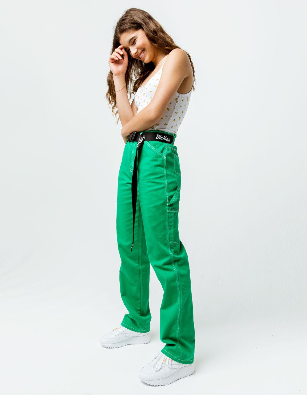 Image of DICKIES BELTED GREEN CARPENTER PANTS
