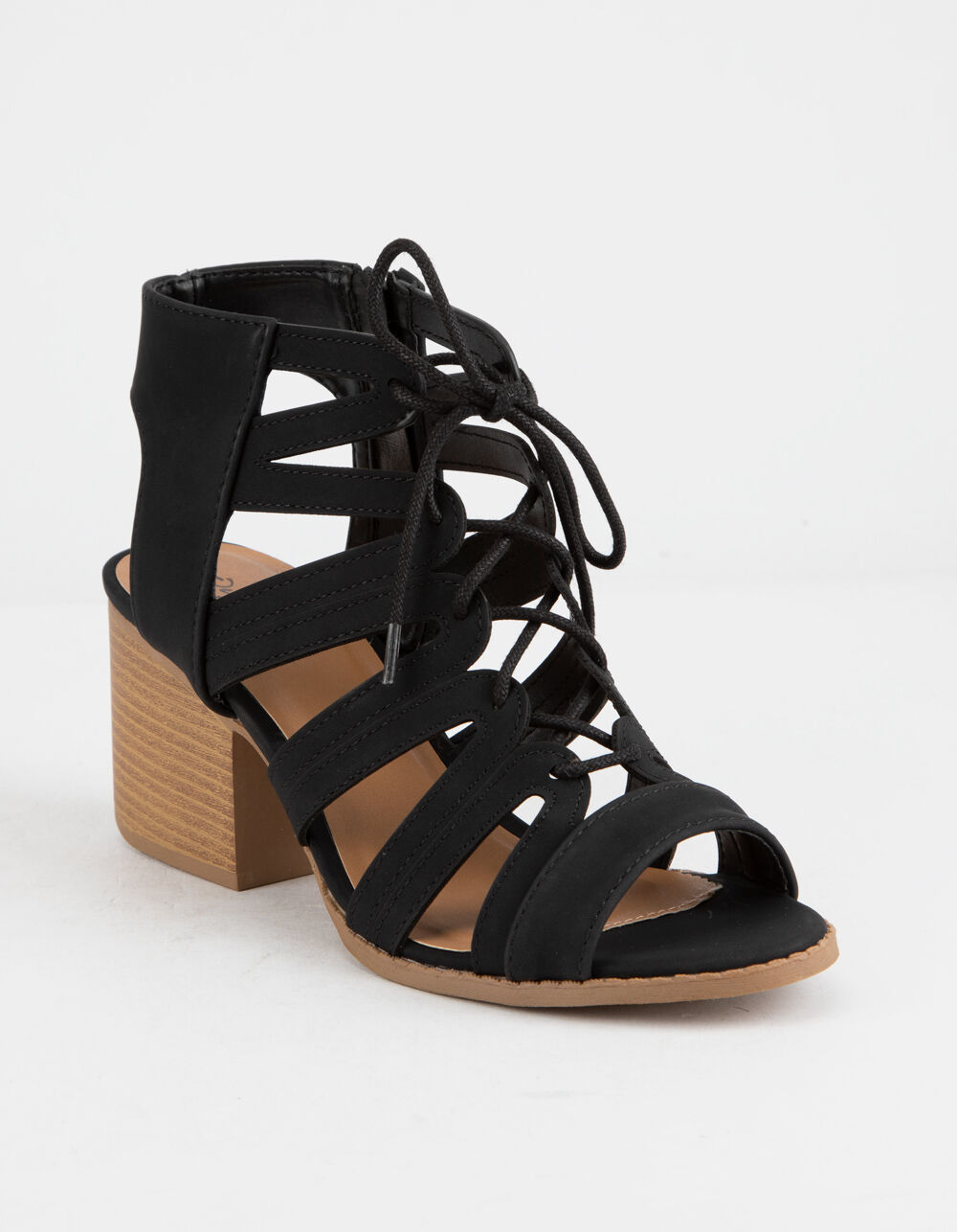 QUPID Lace Up Black Heeled Sandals