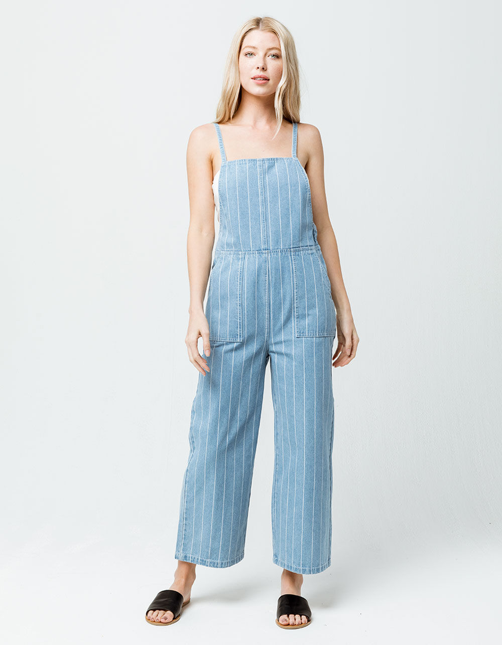 RVCA Called It Striped Denim Jumpsuit