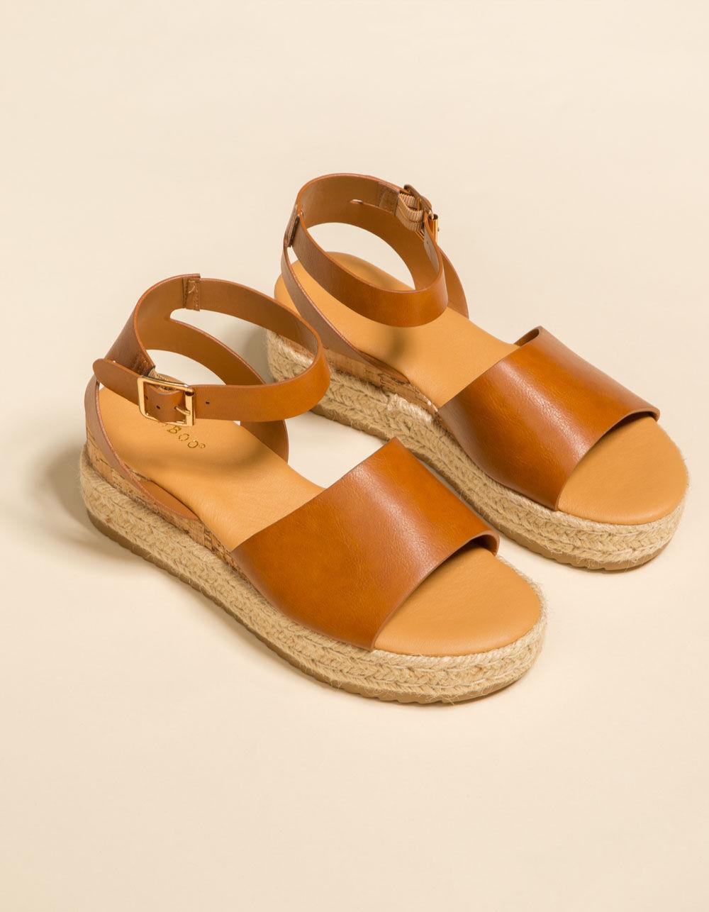 BAMBOO Jute Ankle Wrap Tan Espadrille Flatform Sandals