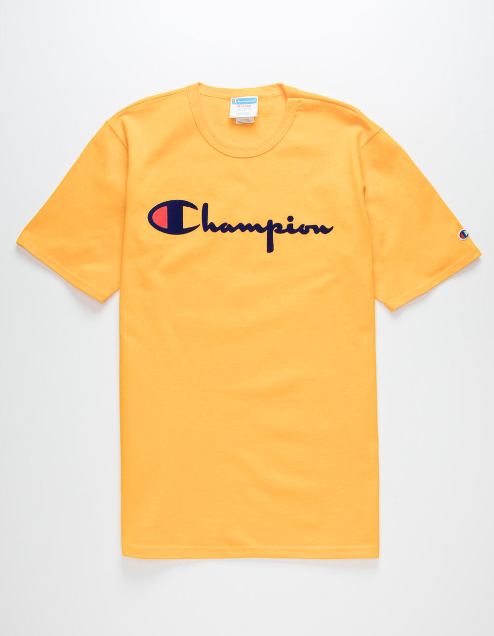 CHAMPION Champion Script Flock Gold T-Shirt