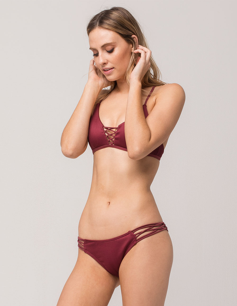 DAMSEL Strappy Ribbed Cheeky Bikini Bottoms