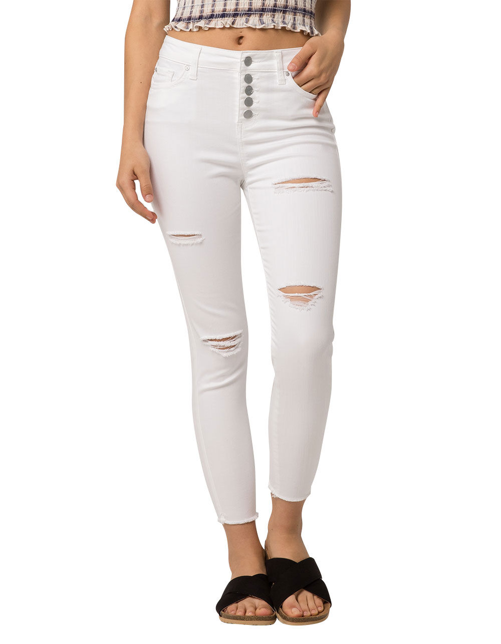 IVY & MAIN FRAY ANKLE RIPPED JEANS