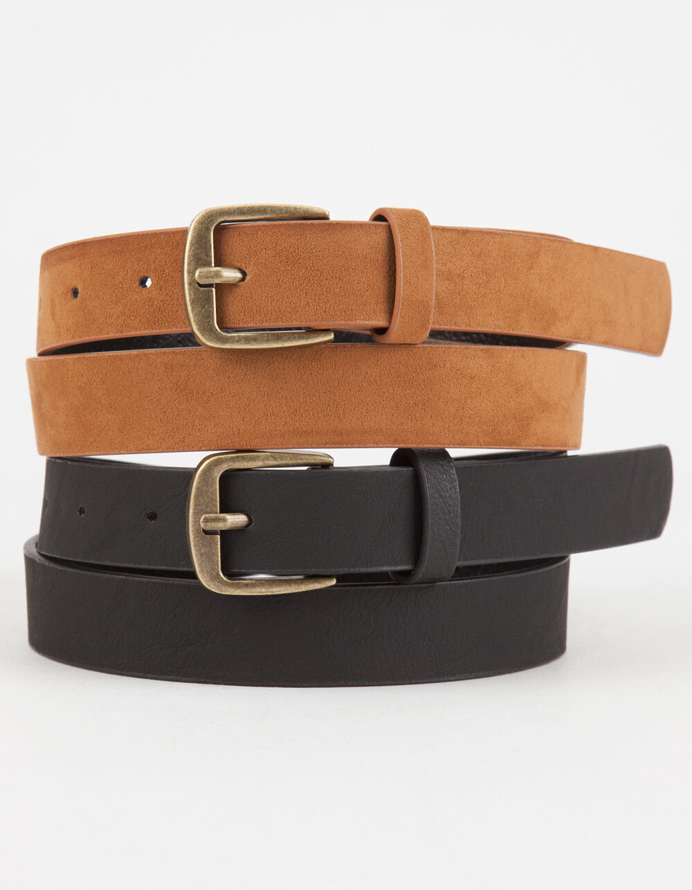 Image of 2 PACK FAUX LEATHER & SUEDE BELTS