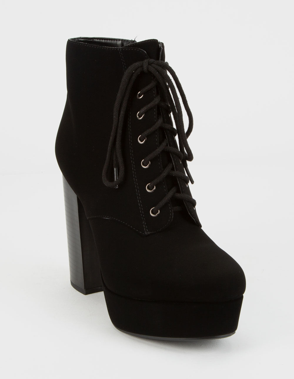 DELICIOUS Lace-Up High Stack Booties