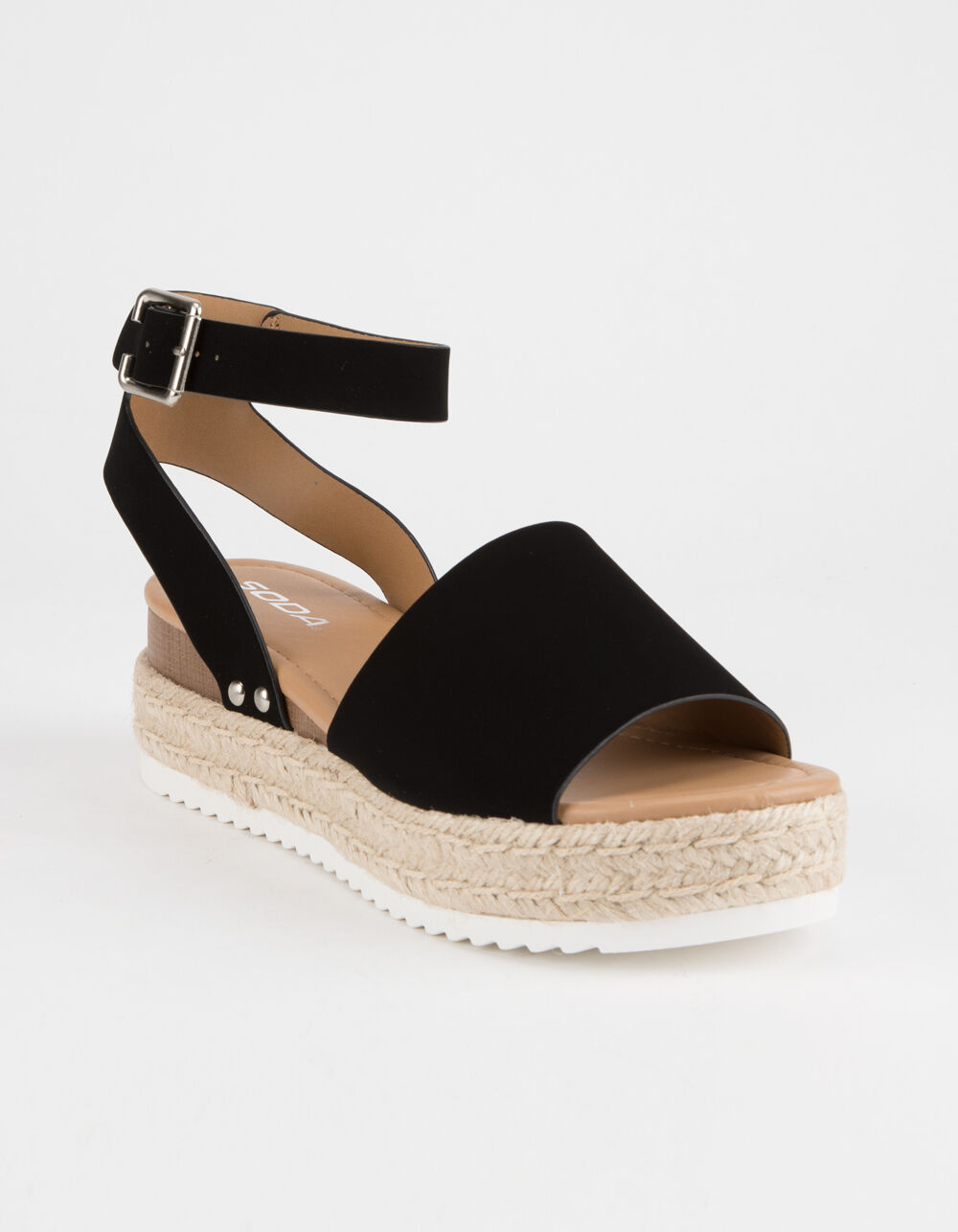 SODA Topic Black Espadrille Flatform Sandals