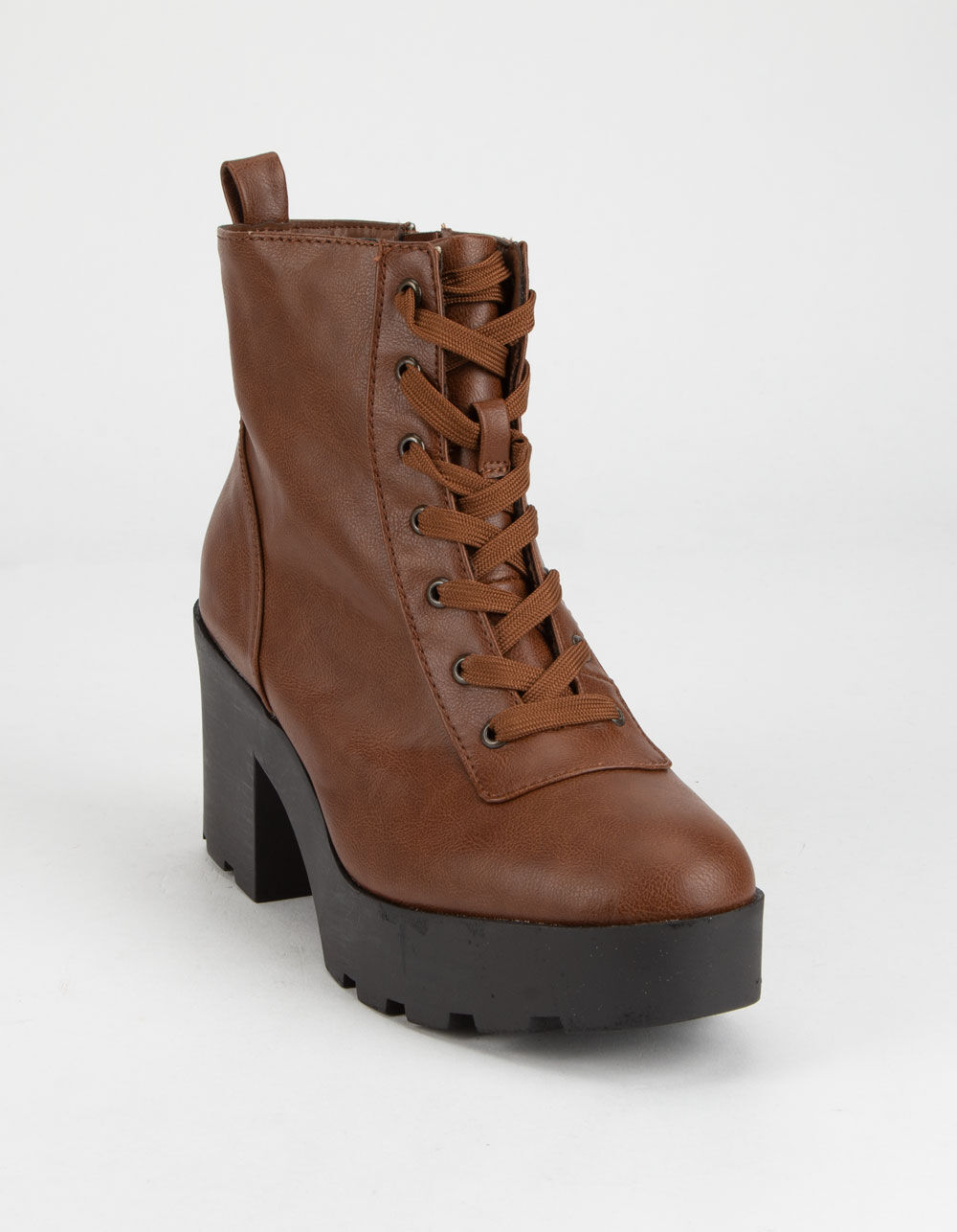 BAMBOO Chunky Lug Sole Lace Up Chestnut Boots
