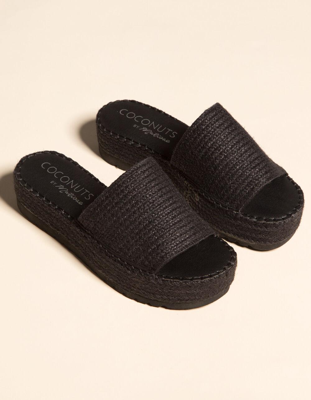 COCONUTS Del Mar Black Espadrille Flatform Sandals