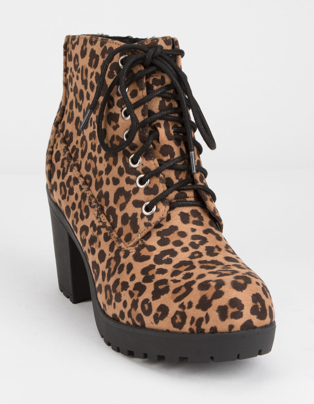 SODA Lug Sole Lace Up Leopard Booties