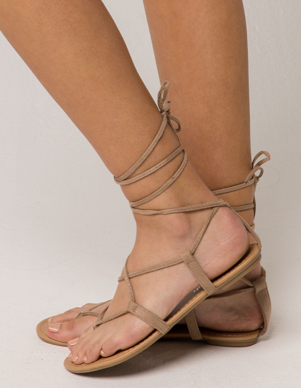 CITY CLASSIFIED Lace Up Leg Wrap Nude Sandals