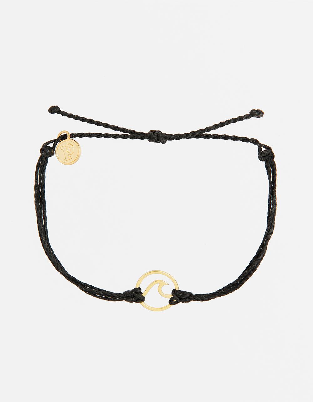 PURA VIDA Wave Black & Gold Bracelet