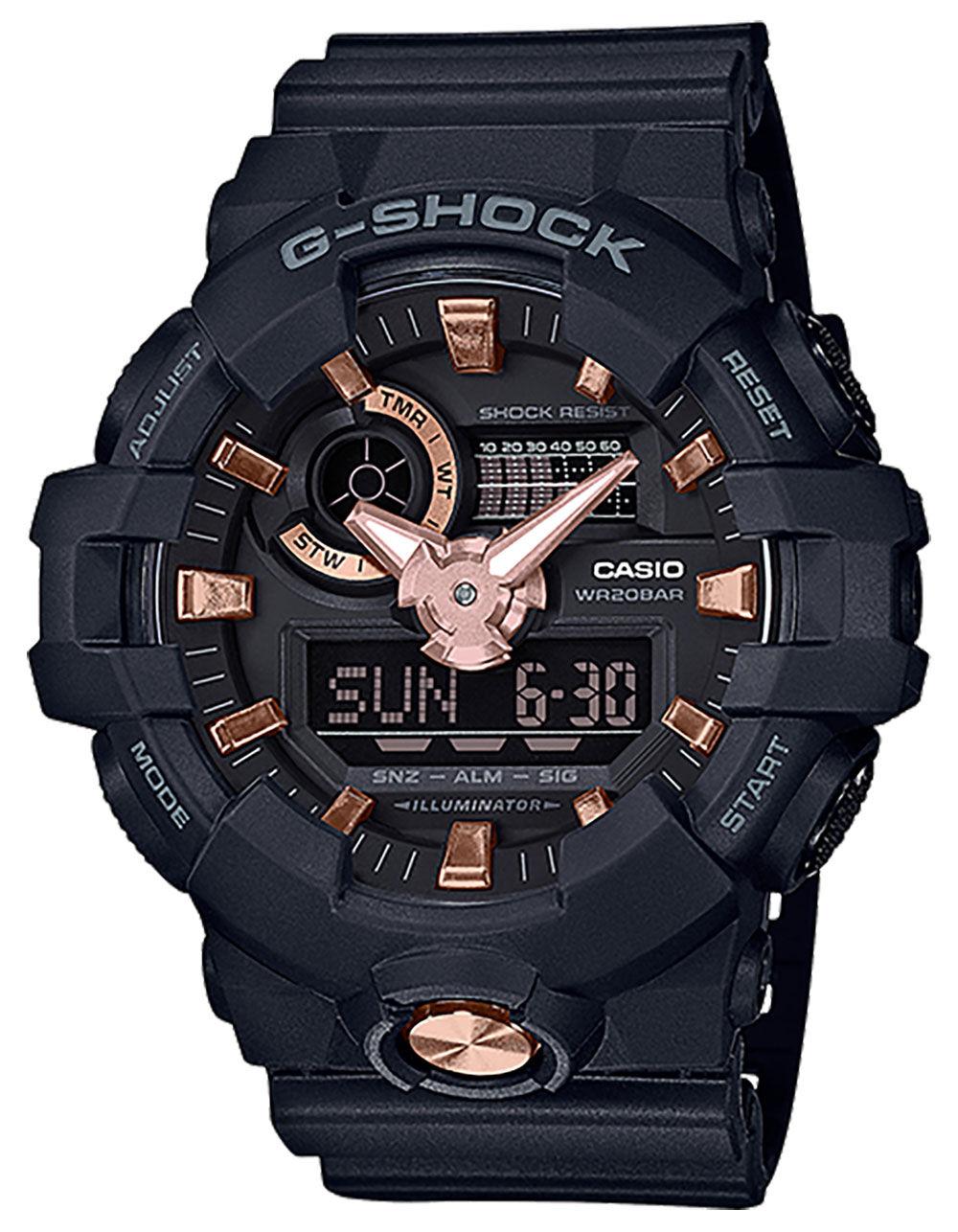 Image of G-SHOCK GA710B-1A4 BLACK & ROSE GOLD WATCH