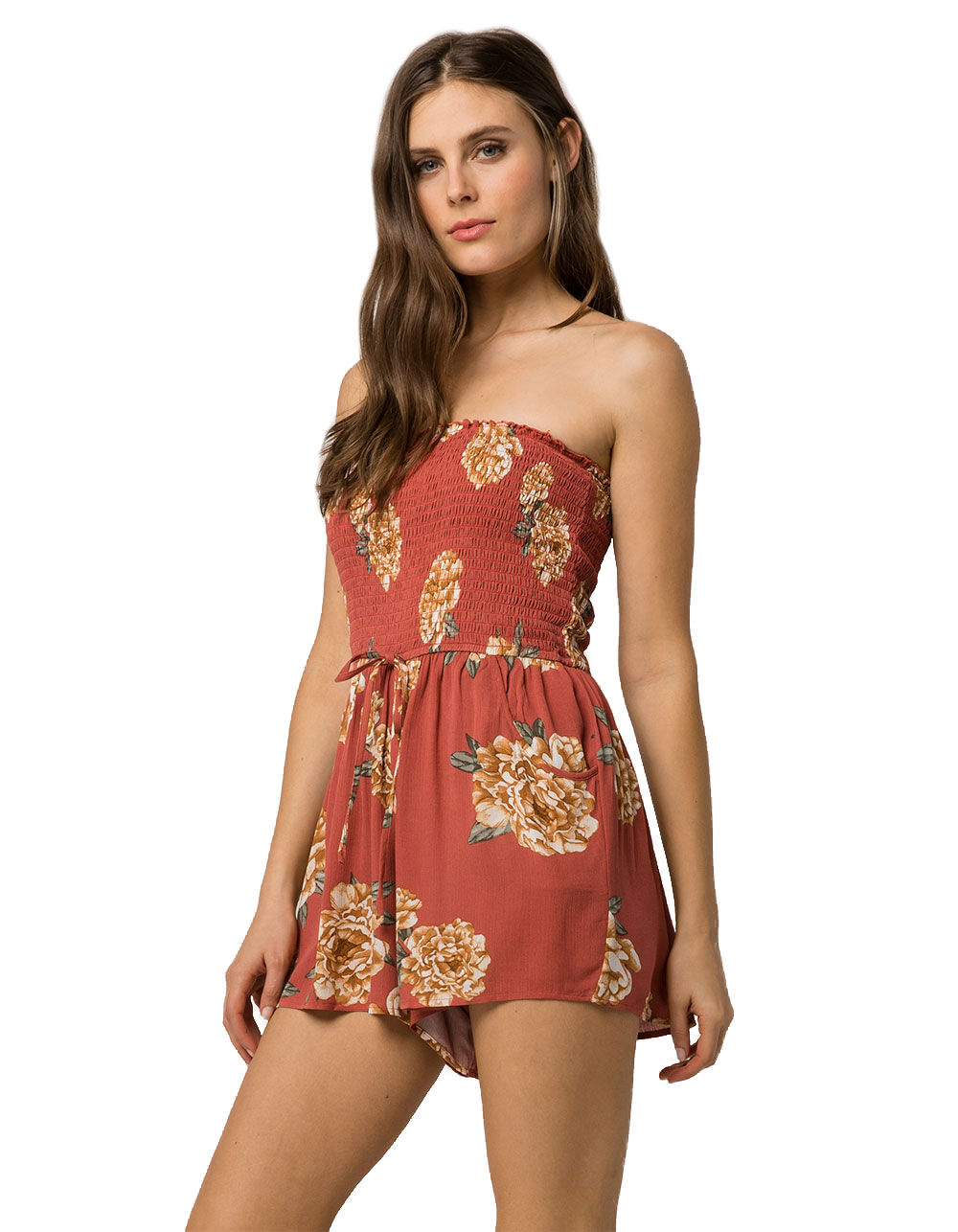 Image of BAND OF GYPSIES SMOCKED FLORAL ROMPER