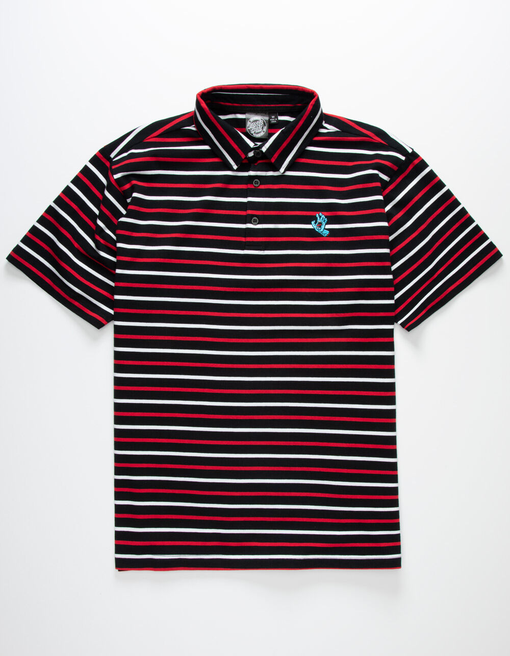 SANTA CRUZ Screaming Hand Red & Black Stripe Polo Shirt