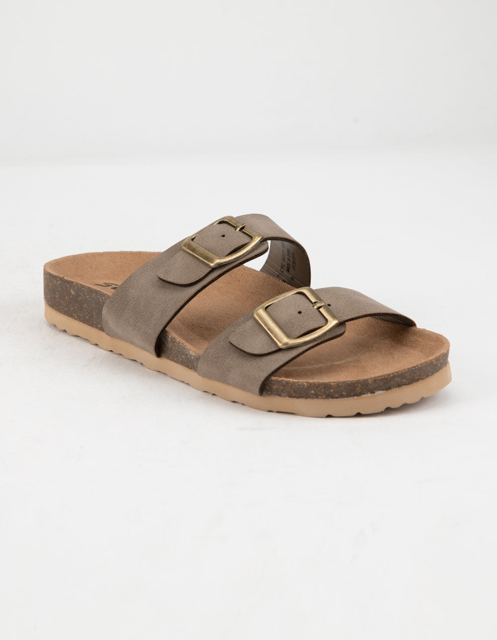 SODA Double Buckle Taupe Girls Slide Sandals