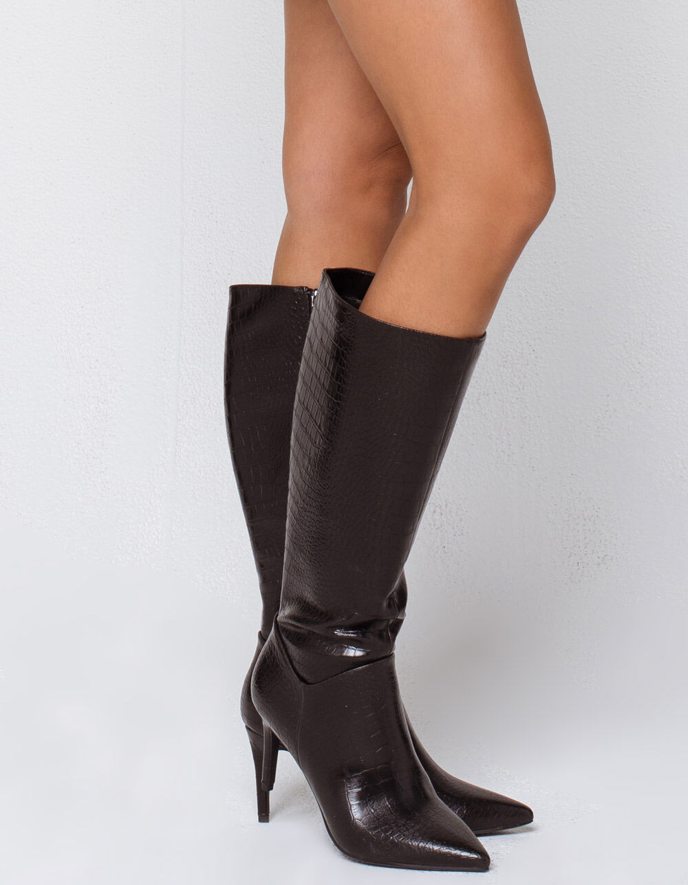 DELICIOUS Crocodile Knee High Black Boots