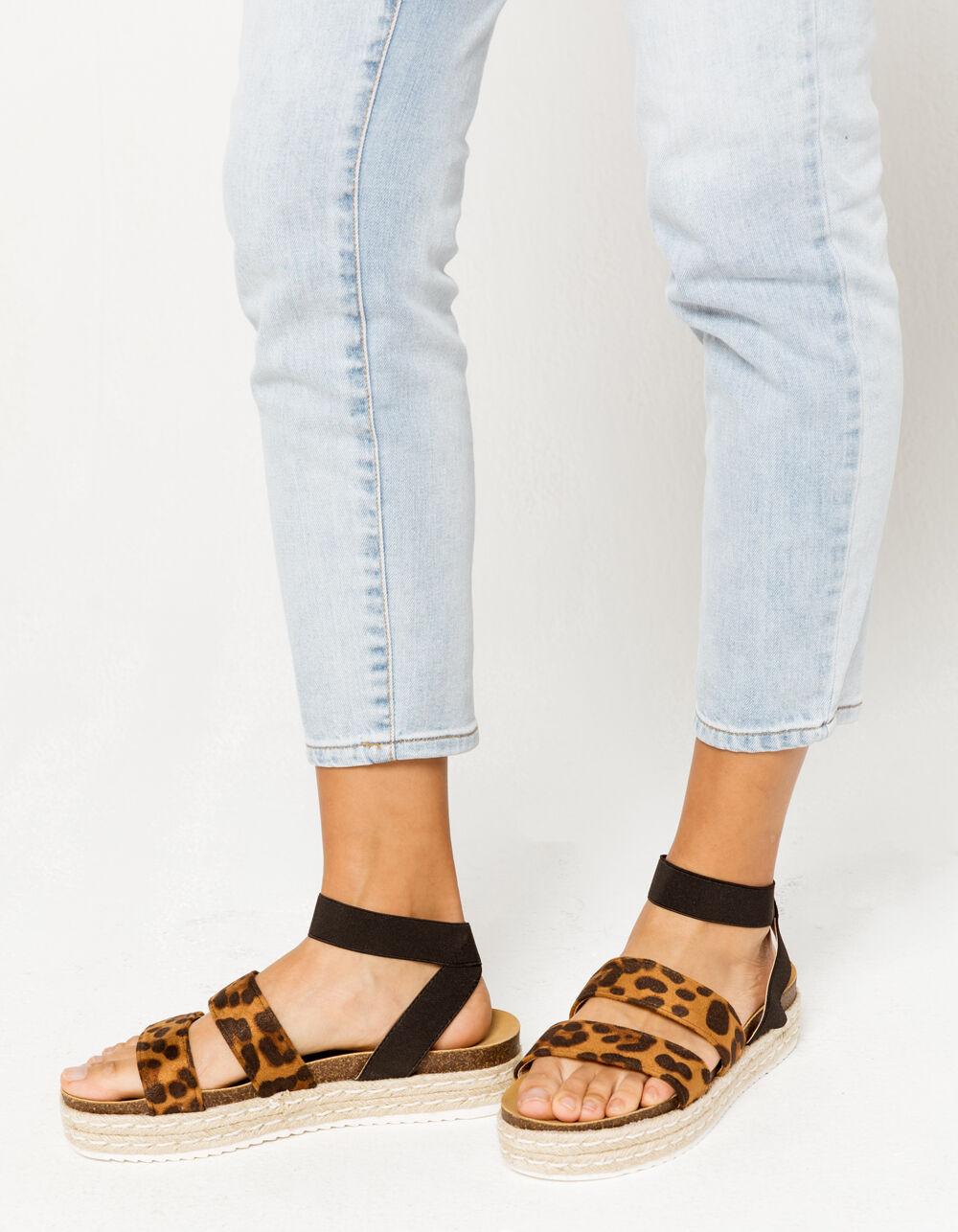 YOKI Chiara Leopard Espadrille Flatform Sandals