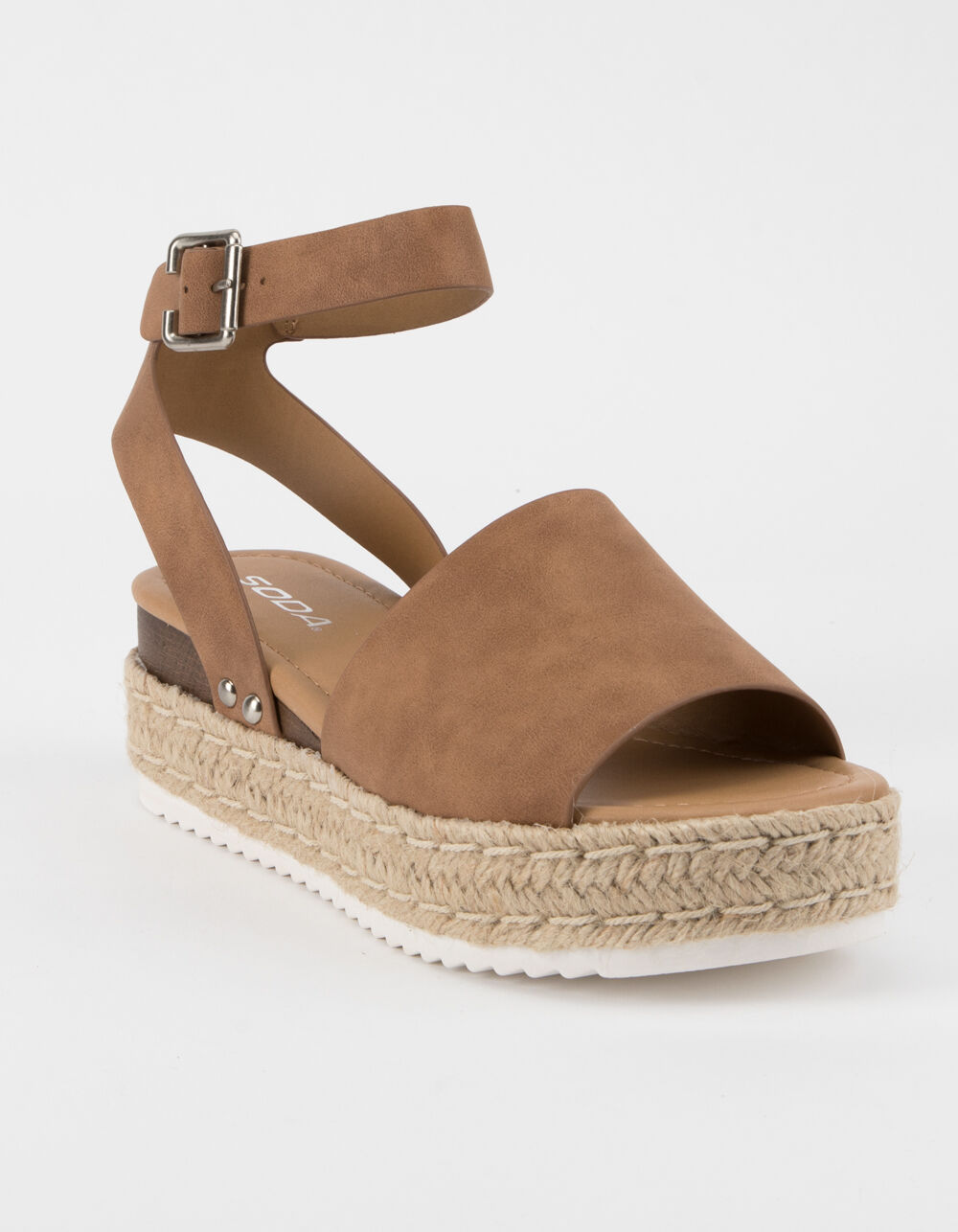 SODA Topic Tan Espadrille Flatform Sandals